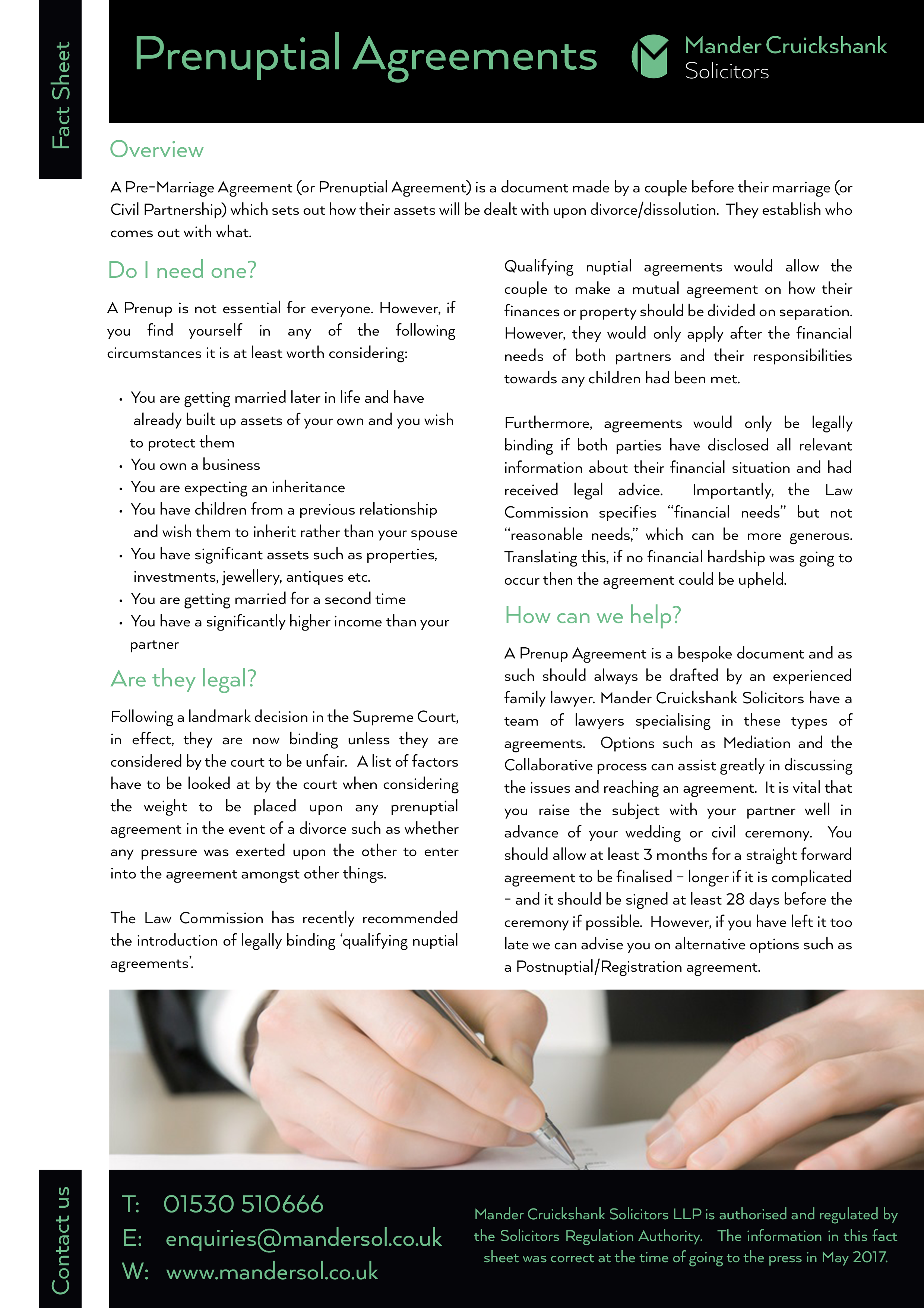Fact Sheet Prenup Agreements Solicitors In Coalville Mander